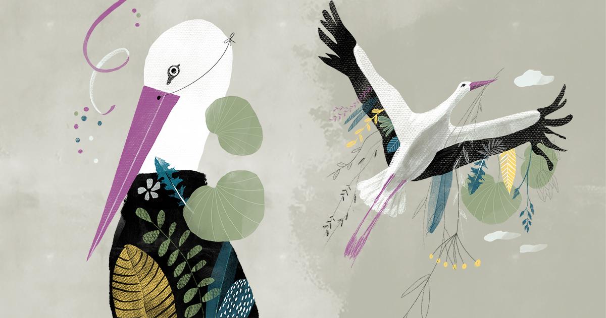 Der Storch erneuert im Frühjahr sein Nest